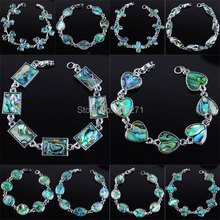 Free shipping New Zealand Abalone Shell Beads Silver plated Bracelet 7 Inches Charm Jewelry PBK133(China (Mainland))