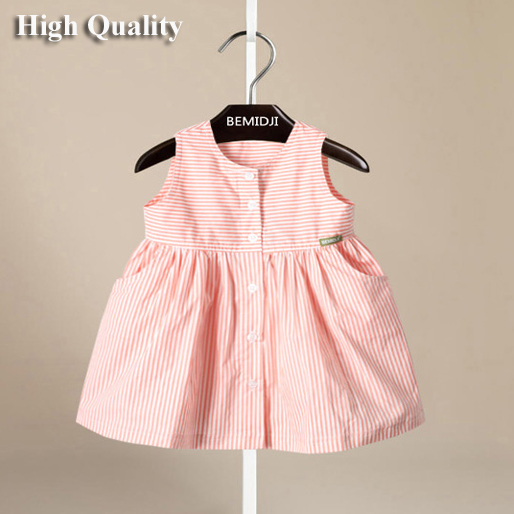 1-6Y Toddler Girls Dresses Summer 2016 Fashion Strip Button Kids Dress For Girls Princess Children Dress Clothes Vetement Fille(China (Mainland))