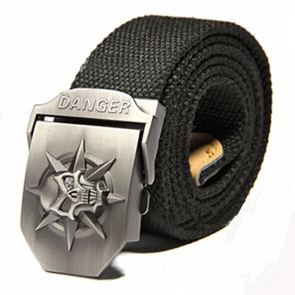 Black 2015 New Skull Men's 120CM Belts Hip-Hop Pop Canvas Belts For Men Outdoor Sports Jeans Weave Buckle Belt Automatically(China (Mainland))