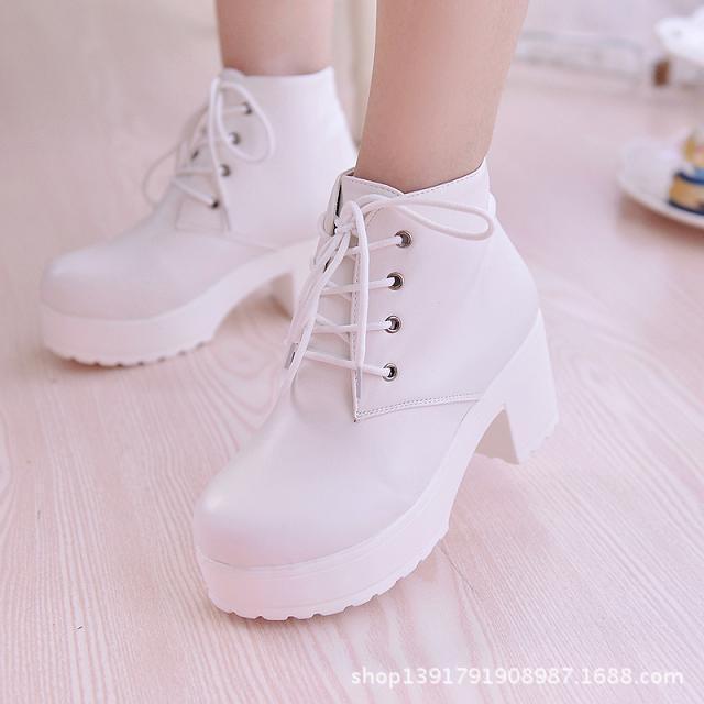 New Fashion Black&White Timber Land Women Platform Heels Ankle Boots Thick Heel Platform Shoes Combat Boots