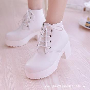 New Fashion Black&White Women Platform Heels Ankle Boots Thick Heel Platform Shoes Combat Boots