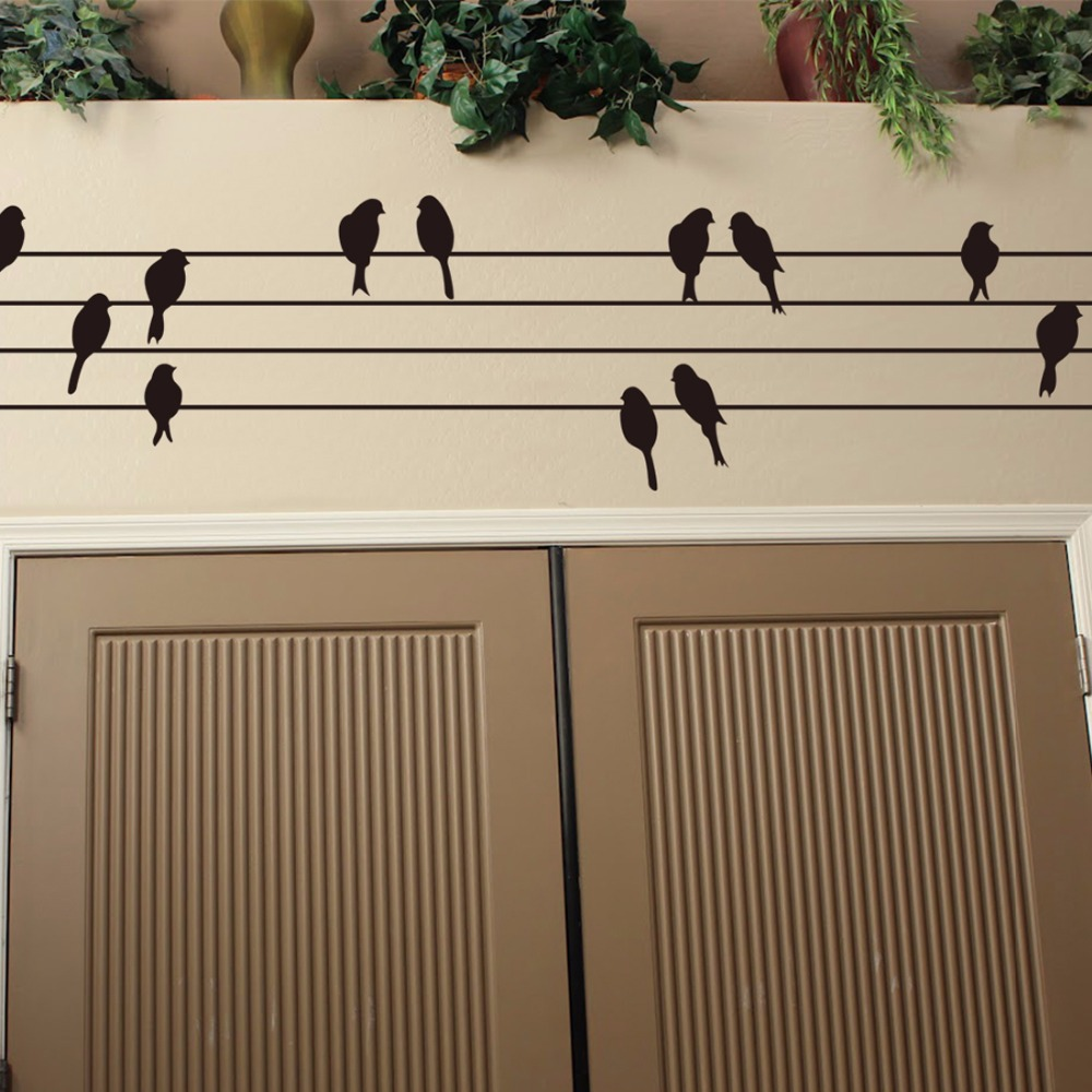 Hot selling 30*115cm Birds On Wires Modern Living Room Wall Art Sticker Mural Decal Present Gift Home Decoration Free delivery(China (Mainland))