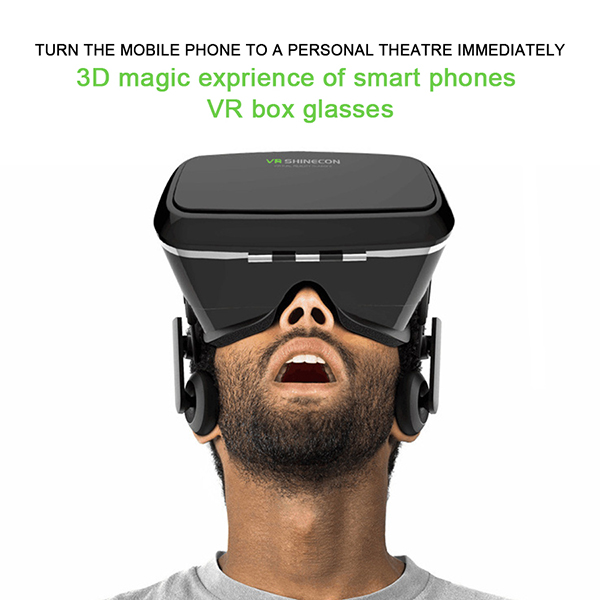 Head Mount Google Cardboard Shinecon Virtual Reality 3d Movie Game Oculus Rift Glasses For Xbox 360 3.5 6 Inch Phone VR Headset(China (Mainland))