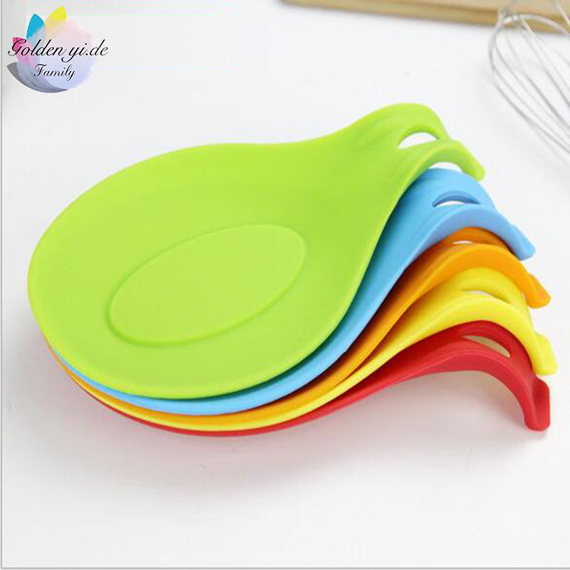 GYD 1PCS Silicone Spoon Insulation Mat Silicone Heat Resistant Placemat Drink Glass Coaster Tray hot sale Spoon Pad Kitchen Tool(China (Mainland))