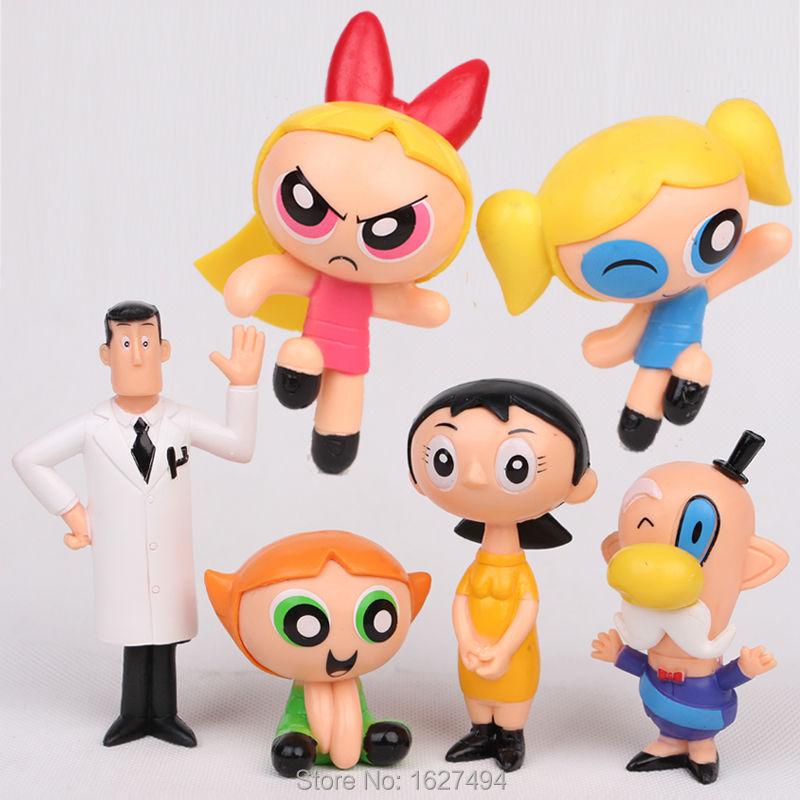 6pcs/lot Cartoon The Powerpuff Girls PVC Action Figures Bubbles Blossom Buttercup Anime Dolls Figurines Kids Toys for Boys Girls(China (Mainland))