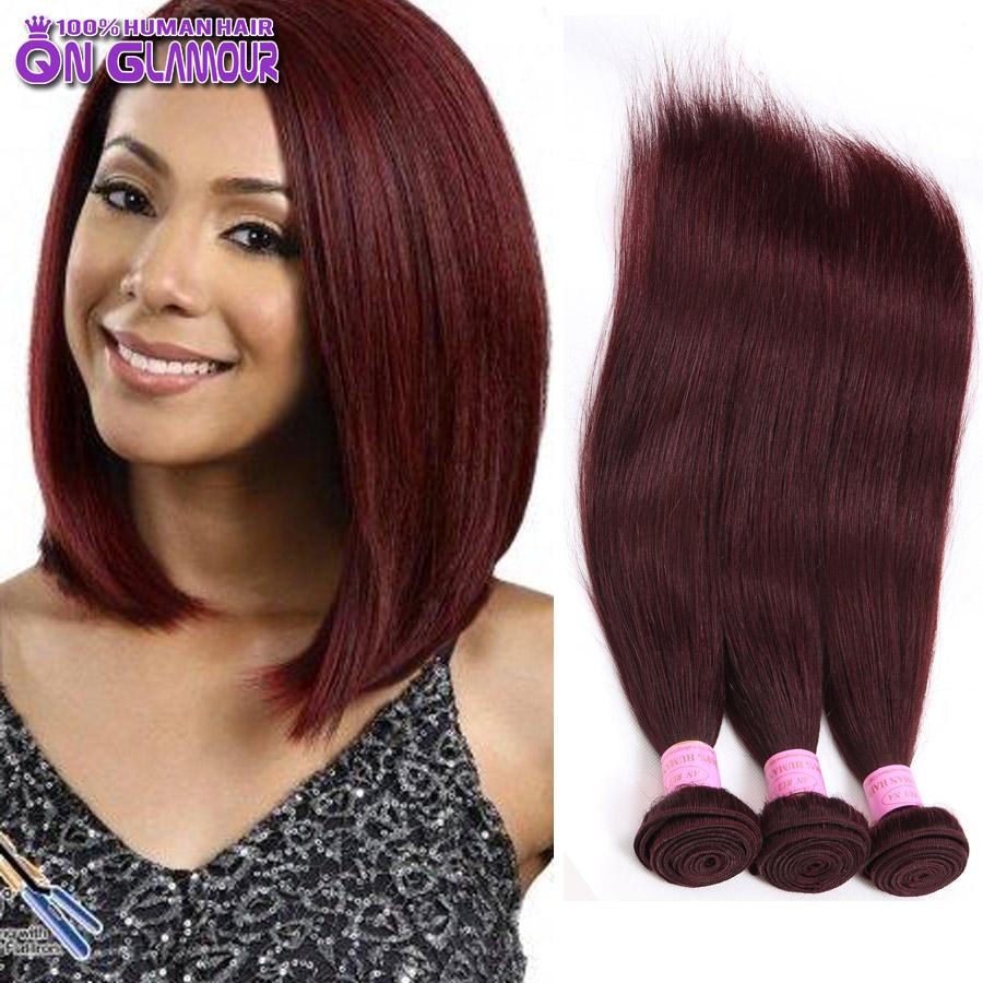 Red Beauty Queen Glamour Peruvian Virgin Hair Straight Unprocessed Peruvian Straight Hair Bundles 3 pcs 99J Hair Extensions Deal(China (Mainland))