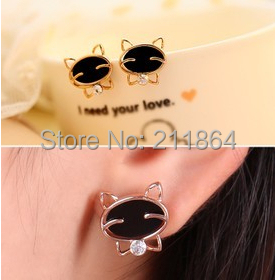 E760 милый черный Cat смайлик высококлассные серьги для женщины ювелирные изделия аксессуары