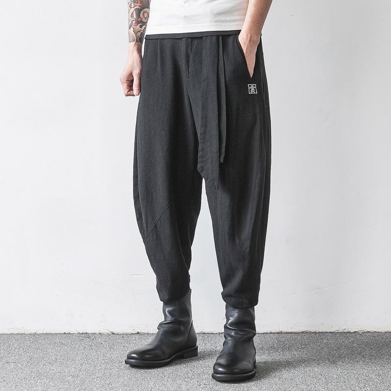 Brand Summer Men Flax Linen Pants Loose Harem High Mid Waisted Drawstring Casual Men Linen Bottom Luxury Brand Men Linen Trouser(China (Mainland))