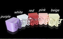 Free Shipping 100Pcs 5 color, White,Pink,Red,beige,Purple Butterfly Candy Box Baby Shower Favor Box Favour Box Gift Cake Box(China (Mainland))