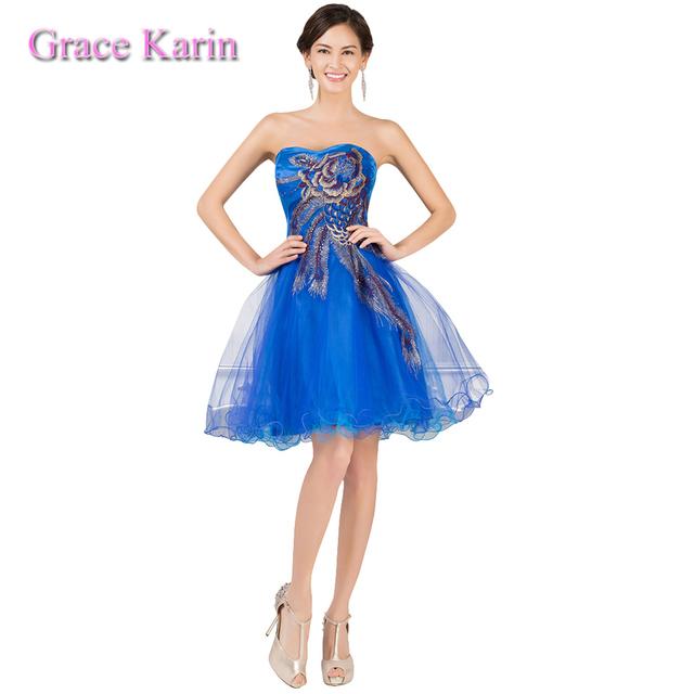 Гк 2015 сексуальная павлин коктейльное платье длиной до колена голубой тюль бальное ...