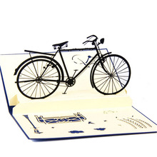 Greeting Card Handmade 3D Pop Up Cards Bicycle Happy Birthday Thank You Christmas Halloween(China (Mainland))