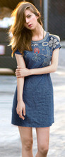 2015 New fashion cowboy dress sexy cultivate one's morality show thin embroidery European and American style free shipping(China (Mainland))