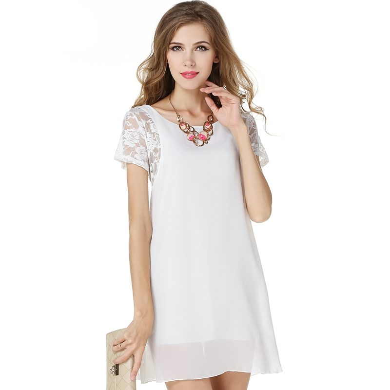 Factory Direct Summer Style Lace Stitching Dress Short Sleeved Chiffon Office Party Dresses Bodycon Plus Size Women Clothing(China (Mainland))