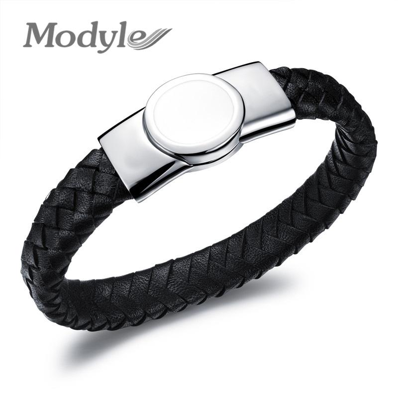 Leather bracelets bangles men stainless steel leather hand woven black bracelet w/ magnetic buckle men's leather bracelet(China (Mainland))