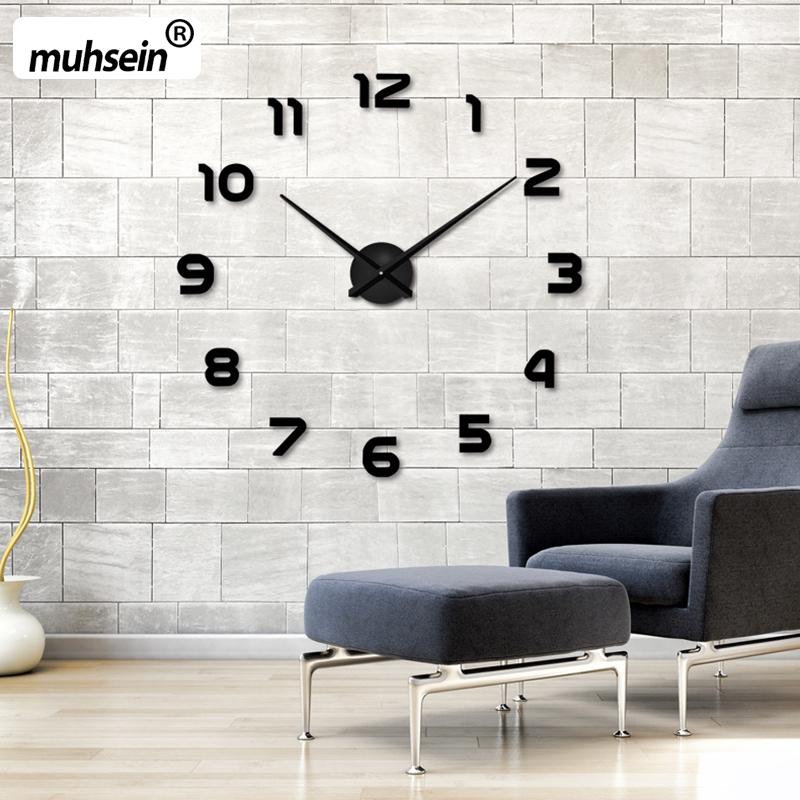 2017 New fashion 3D big size wall clock mirror sticker DIY wall clocks home decoration wall clock meetting room()
