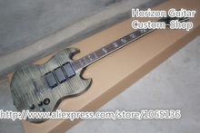 Cheap Chinese Musical Instrument SG Custom Electric Guitar Flame AAA Highly Figured Transparent Grey For Sale(China (Mainland))