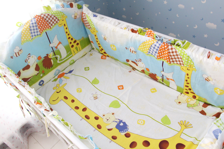 Promotion! 6PCS Bedding Set for Baby's Crib,Both Safety and Healthy Kids Accessory Baby Bed Set (bumpers+sheet+pillow cover)(China (Mainland))