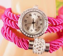 2015 nueva moda de nueva Hawaii joyería del partido crystal relojes mujeres RhinestoneChain reloj de cuarzo de cuero