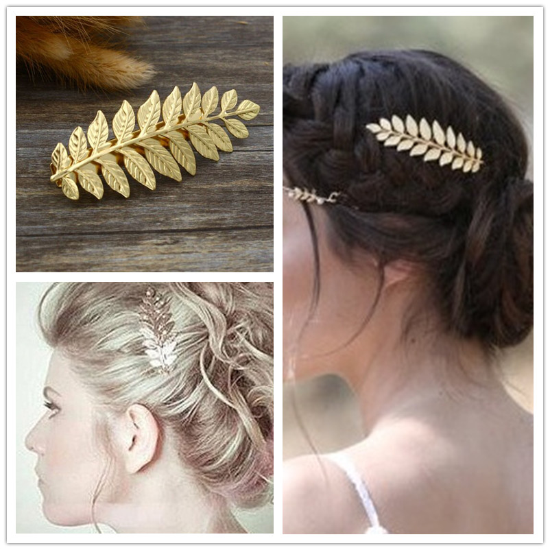 New fashion hairwear gold plated leaf hairpin hair combs hair sticks barrettes gift for women girl H371(China (Mainland))
