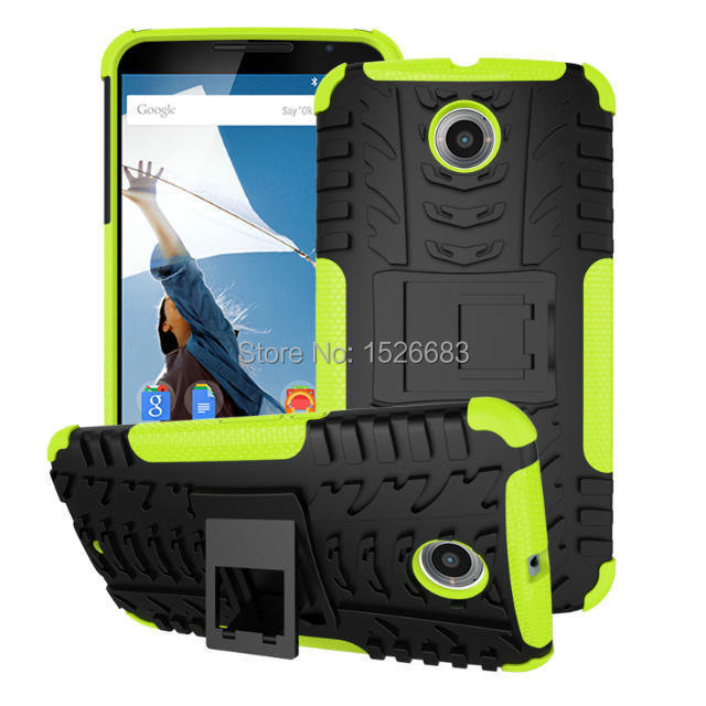 Heavy Duty 2 1 Hybrid Armor CASE Google Nexus 6 Impact Rugged Hard PC+TPU Kickstand Cover Motorola Moto Nexus6 Holder - Top 1MS LTD store