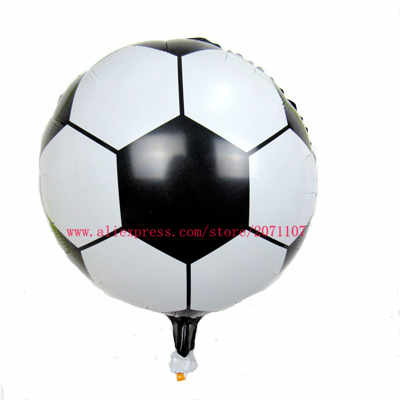 "Lucky 10pcs/lot 18"" Round Soccer/Football Balloon Inflatable Foil Balloons Toys For Children Games Birthday Party Decorations(China (Mainland))"