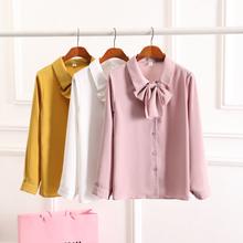 women chiffon blouses tops long sleeve basic shirt plus size OL work wear white blouse clothes with bow blusas feminina bluse