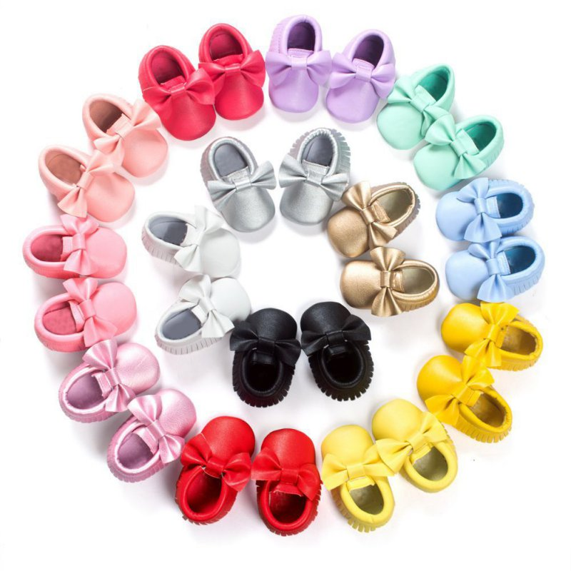 Handmade Soft Bottom Fashion Tassels Baby Moccasin Newborn Babies Shoes 18-colors PU leather Prewalkers Boots(China (Mainland))