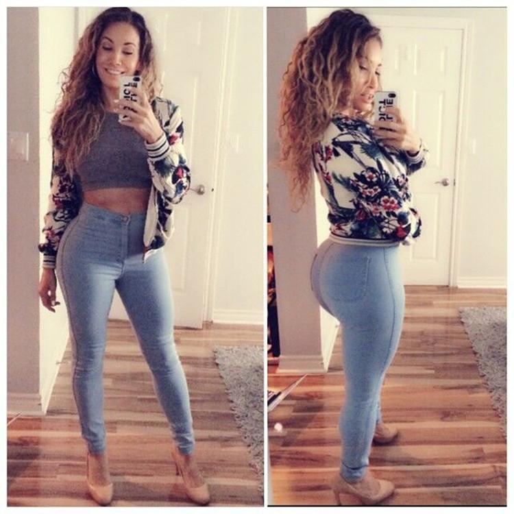 Женщины завышенная талия джинсы дамы брюки чехол карандаш джинсы свободного покроя Bodycon брюки