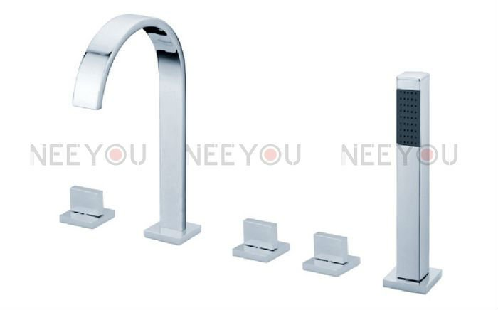 Brand Luxury Free Shipping 5 Pcs Bathtub Mixing Faucet With Square Hand Held Shower 02931 Brass