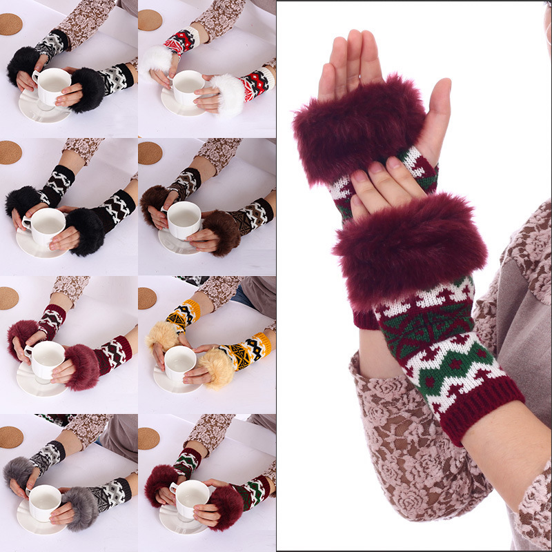 2015 new autumn and winter warm plush Korean cute female fingerless gloves half palm keyboard leak student wool gloves(China (Mainland))