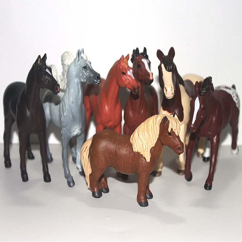 solid pvc figure animal model toy decoration horse 7pcs/set(China (Mainland))