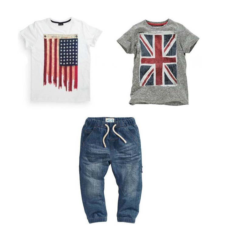 Kids boys summer clothes set With the British and American flag two T-shirts and jeans 3P clothing suit, babymmclothes(China (Mainland))