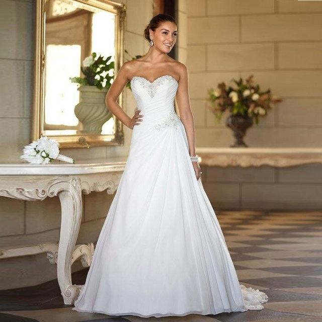 На складе милая шифон свадебные платья Большой размер 2016 дешевые line бисера лето ...