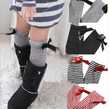 One Pair Baby Leg Arm Warmers Bowknot Cotton Striped Socks 1-8 Years Age Children Free Shipping