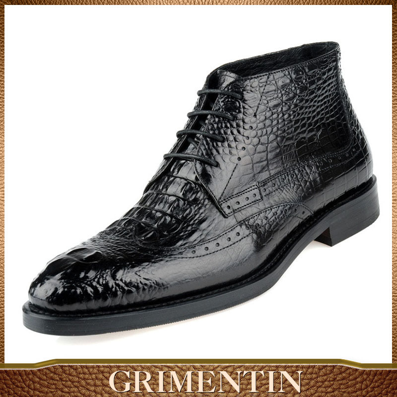 GRIMENTIN vintange style classic retro crocodile luxury men oxford boots genuine leather man boot black outdoor size:38-45 - store