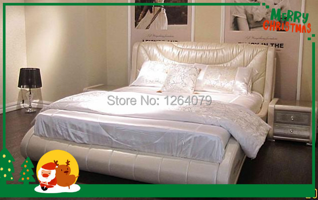 Hot Selling Model New Antique Furniture Living Room Genuine Leather Bed(China (Mainland))