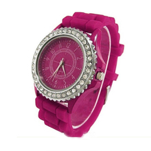 2016 hot Lost Money Sale good quality Geneva 3 colors Silicone watch ladies women students Crystal Wrist Jelly Sports Watches