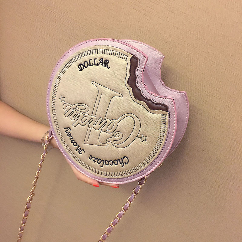 Unique circular coin cute mini chocolate letters embroidery messenger bag ladies handbag shoulder bag casual flap clutch purse(China (Mainland))