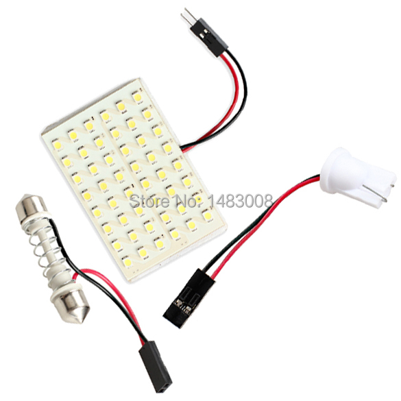 48 LED Auto Car Dome Festoon Interior Bulb Roof Light Lamp with T10 Adapter Festoon Base High Quality(China (Mainland))