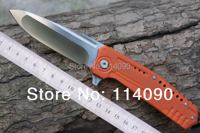 "Freeshipping 100% MG brand ""DAMM"" N690 steel blade Orange&Red G10 + import Titanium Alloy handle folding knives(China (Mainland))"