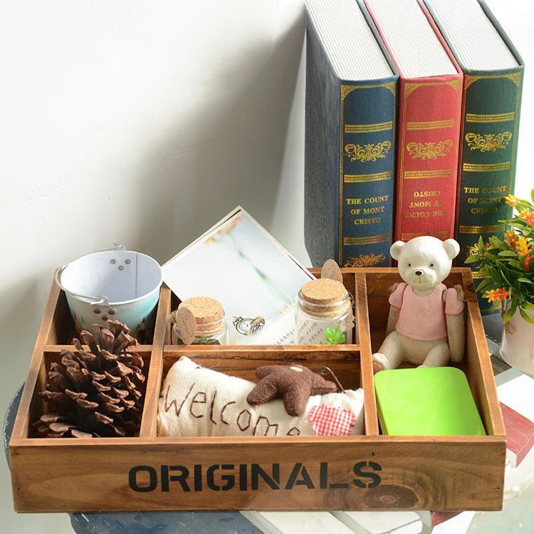 AIBEI-ZAKKA Wooden 5 grids Storage Tray Retro Serving Decorative Trays Home decoration Table cosmetics case(China (Mainland))