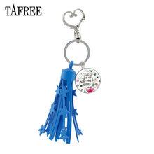 "TAFREE כחול ציצית לב נועלים מפתח טבעת מחזיק זכוכית קרושון תהילים התנ""ך פסוק ציטוט תליון Keychain הנוצרי תכשיטי LT01(China)"