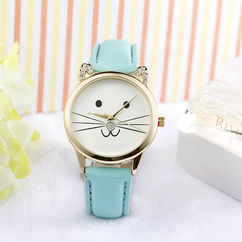 2015 Hot Sale New Arrival Fashion WomenNeutral Diamond Lovely Cats Face Cute Faux Leather WristWatch Along Quartz Watch(China (Mainland))