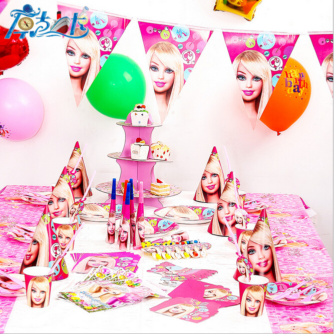 90pcs/New Barbie Theme Party Luxury kids boys and girls birthday decoration plates cups straws napkins party supplie(China (Mainland))
