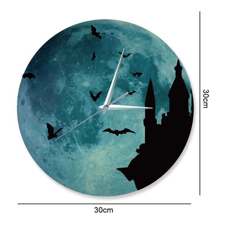 Funlife Luminous Glowing Moon Wall Clock Mordern Design Castle Night Bats Sticker Decal Acrylic Clock Home Decor 30cm