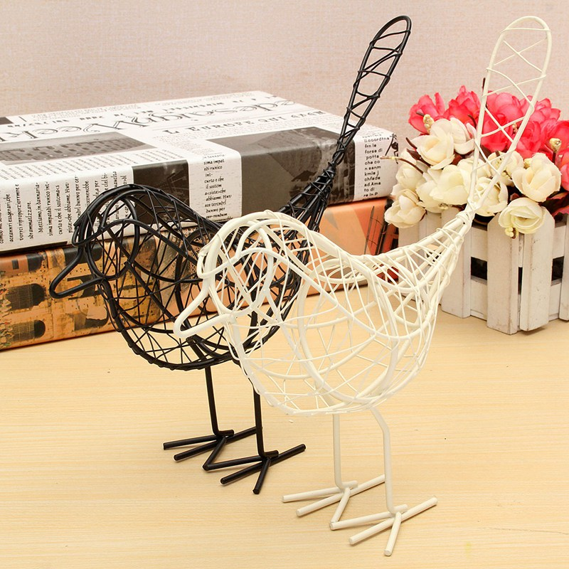 KiWarm New Vintage Metal Craft Wire Iron Bird Model Decorative Ornament Home Living Room Office Desktop Decoration Craft Gift(China (Mainland))