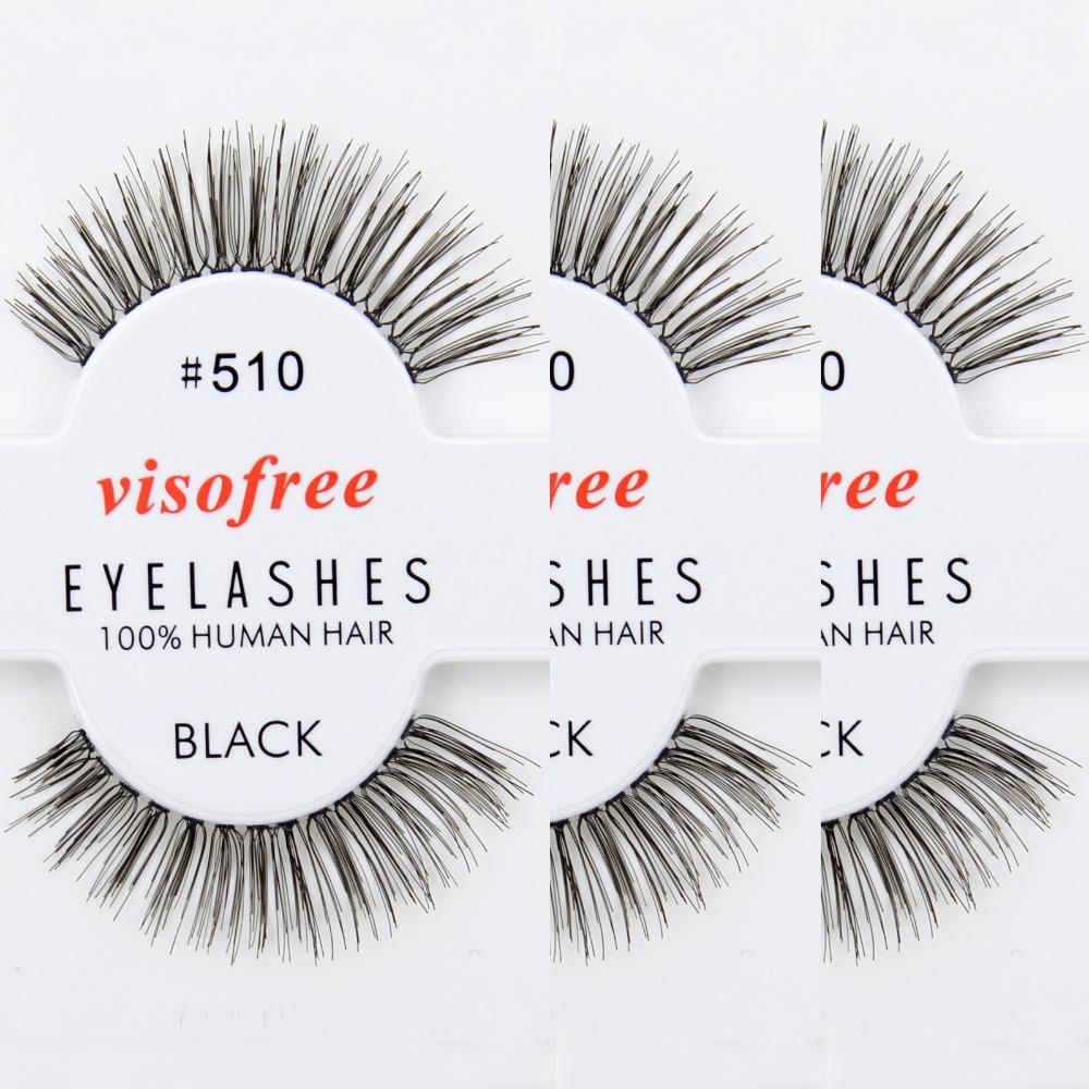 12 Pairs/Lot Visofree False Eyelashes #510 Human Hair Eye Lashes (Same factory & production line as Red Cherry) Wholesale(China (Mainland))