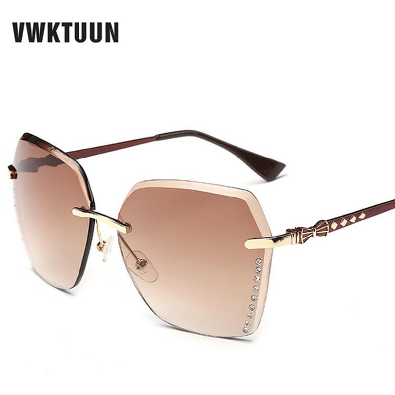 VWKTUUN Gradient Sunglasses Women Rimless Big Frame Sun Glasses For Women Crystal Glasses oculos de sol feminino Male lunette