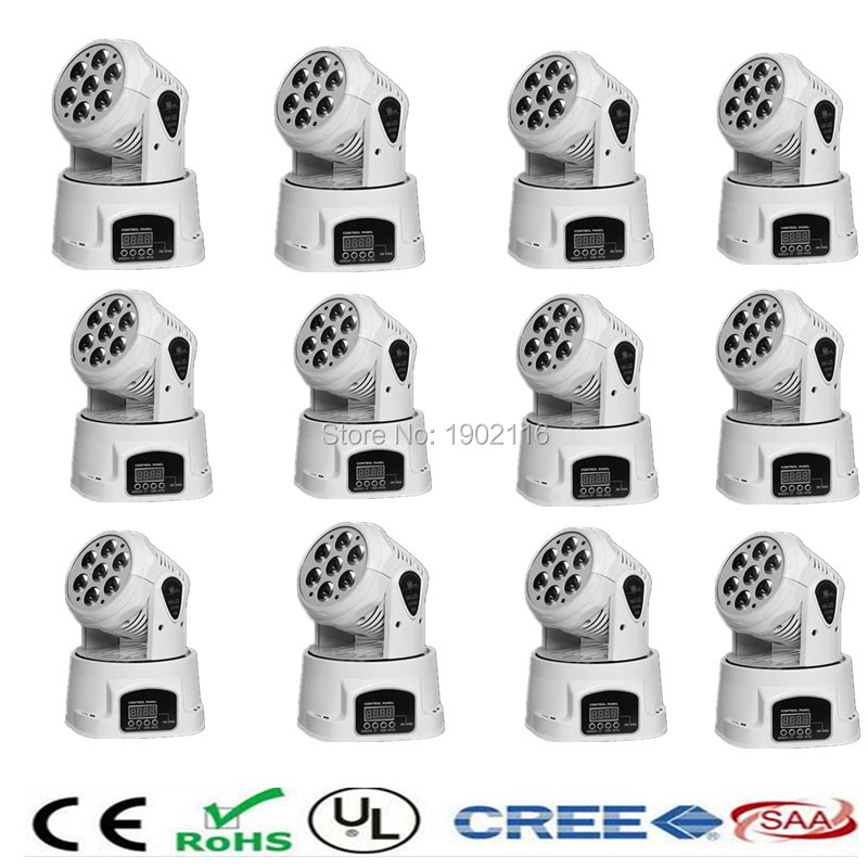 Фотография 12pieces/lot White mobile head led wash 7x12w rgbw moving head light/dj equipment powerful mini moving light