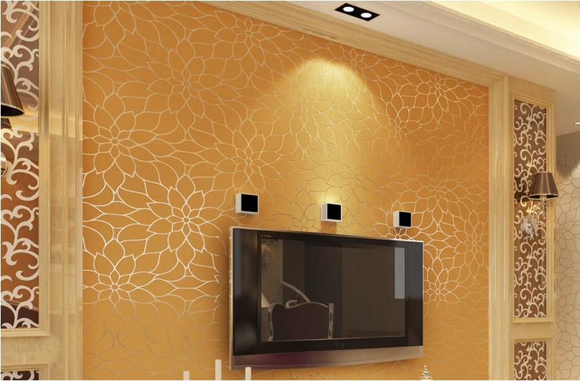 Tv Wall Design Wallpaper : Modern lotus floral designs wallpaper for home decor